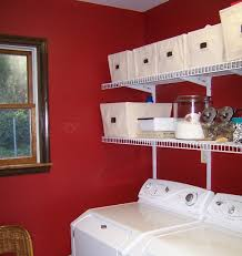apple red paint color for laundry room with white furniture
