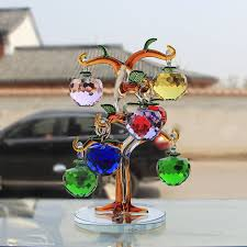 glass apple tree ornaments with 8pcs hanging faceted
