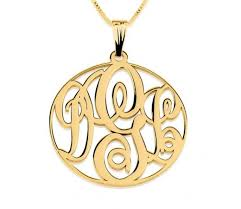circle monogram necklace 24k gold plated medium circle monogram necklace