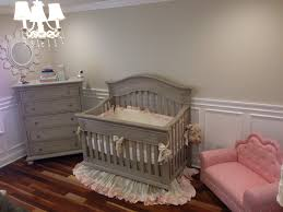 Babyletto Mercer 3 In 1 Convertible Crib by Restoration Hardware Pumice Gray Nursery With Wainscoting And