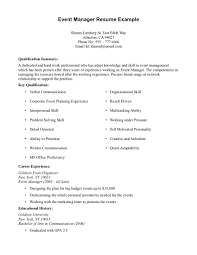 Simple Job Resume Examples by Events Manager Resume Sample Resume For Your Job Application