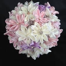 bouquet of 40 kanzashi flowers and swarovski beads kanzashi
