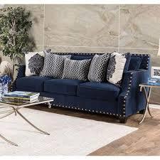 furniture of america cornelia living room 2pc sofa set navy color