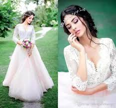 discount pink v neck long sleeves tulle wedding dresses outdoor