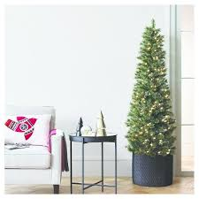 7 5ft prelit artificial christmas tree slim virginia pine clear