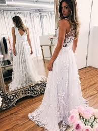 where to buy wedding dresses usa buy a line v neck illusion back tulle wedding dress with appliques