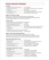 9 concert program templates u2013 free sample example format download
