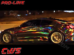 car wrapped in wrapping paper holographic chrome black cws vinyl wraps