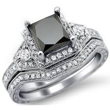 black diamond wedding sets 1 95ct princess cut black diamond engagement ring bridal set