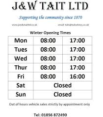 j w tait ltd orkney new winter opening times for the parts