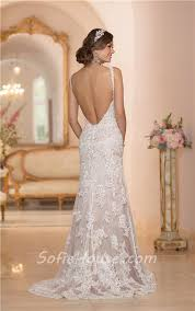 fitted mermaid backless champagne satin ivory lace wedding dress