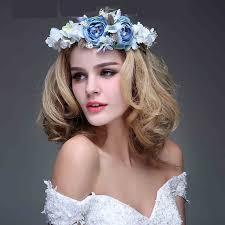 bridal garland free shipping handmade blue flowers rattan circle bridal garland