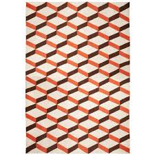 Weave Rugs Lorenzo Reversible Peruvian Llama Flat Weave Orange Rug 6 X 9