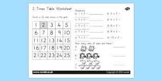Times Tables Worksheet Two Times Table Worksheet Australia Two Times Table