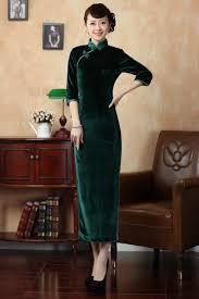 lady u0027s dark green velvet 3 quarters sleeve classic full length