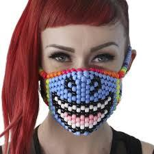 plastic surgery halloween mask amazon com smiling unicorn kandi bead halloween mask rave wear