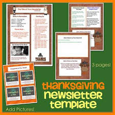 thanksgiving theme newsletter template word by the newsletter store