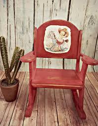Western Rocking Chair Found Post Vintage Retro Distressed Red Cowboy Western Toddler