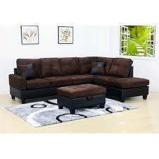 generic evelyn 3 pc dark brown 2 tone microfiber living room right