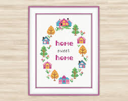 buy 2 get 1 free wreath home sweet home cross stitch pattern