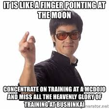 Finger Pointing Meme - it is like a finger pointing at the moon concentrate on training