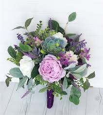 peonies bouquet boho touch purple lilac peonies succulents roses and