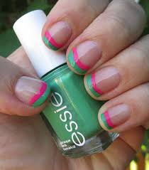 colorful double french tip nails u0026 easy clean up technique youtube