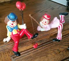 vintage clown figurines set of 2 clown figurines collectible