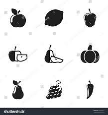 editable fruit set 9 editable food vegetable icons stock vector 555393301