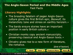 feature menu fast facts key concept the anglo saxon legacy ppt