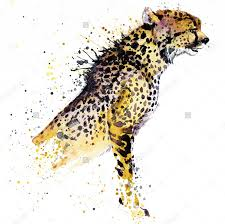 elegant watercolor sitting half cheetah body tattoo design