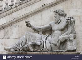 statue of greek god zeus on piazza del campidoglio in rome italy