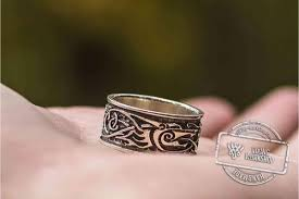 beautiful wolf ornament ring handmade sterling silver viking ring