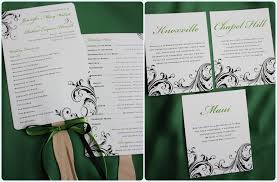 scroll wedding programs green black swirling scroll wedding invitations emdotzee designs