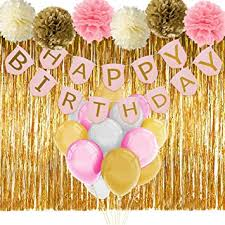 birthday decorations paxcoo pink and gold birthday decorations with