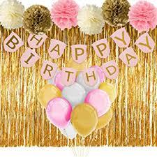 Birthday Decorations For Girls Amazon Com Paxcoo Pink And Gold Birthday Decorations With