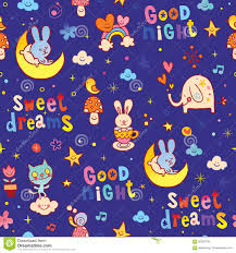 good night sweet dreams kids seamless pattern stock vector image