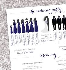 Modern Wedding Programs Winter Wedding Program Bridal Party Silhouettes Digital