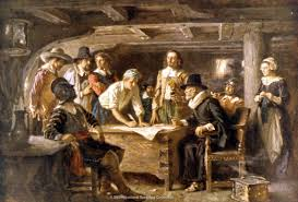 first thanksgiving at plymouth virginia bound mayflower accidently lands on plymouth rock