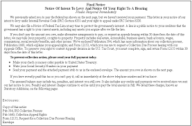 irs notice cp 90 cp 297 final notice notice of intent to levy