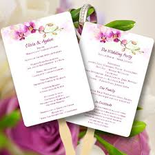 wedding program fan template printable wedding program fan template orchid for