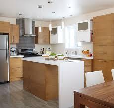 armoire de cuisine stratifié îlot et armoires de cuisine deux tons en merisier teint de style