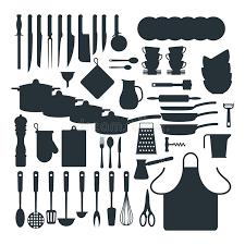 vaisselle cuisine icônes de vecteur de silhouette de vaisselle de cuisine illustration