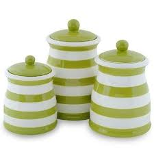 green white stripe ceramic kitchen canister set products i - Green Canisters Kitchen