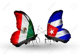 Mexico Flag Symbol Two Butterflies With Flags On Wings As Symbol Of Relations Mexico