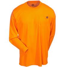 dickies shirts men u0027s orange high visibility long sleeve ansi