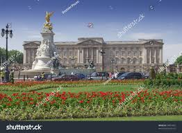 home of queen elizabeth buckingham palace gardens clear day official stock photo 34951852