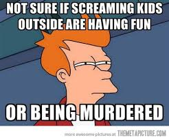 Not Sure Fry Meme - every time i hear kids screaming outside the meta picture