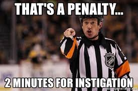 Hockey Meme Generator - that s a penalty 2 minutes for instigation hockey ref meme