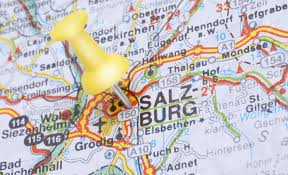 World Map With Pins by Salzburg Austria Europe Push Pin On An Old Map Showing Travel